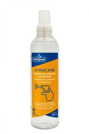 NITRODES D102 – Desinfectante ambiental/superficies con difusor 250 ml – Caja 16 u